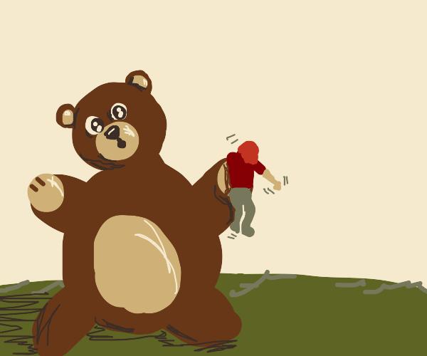 Big bear steals man
