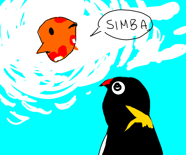 Penguin looking at fish in a cloud