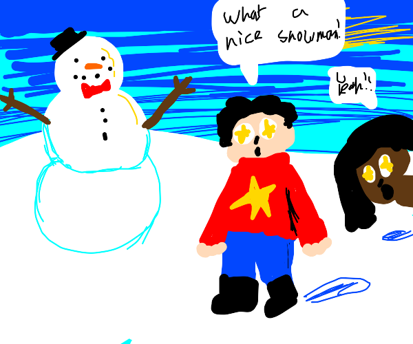2 ppl admiring snowman