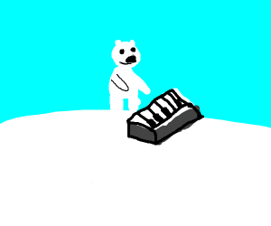 little polar bear playing the keyboard