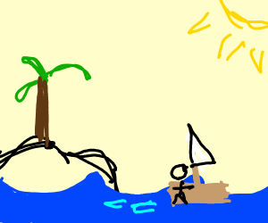 A man leaving an island on a raft