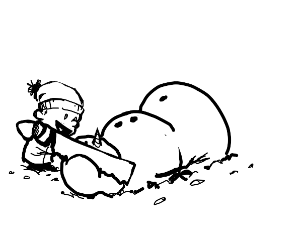 Calvin and Susie lobotomising a snowman