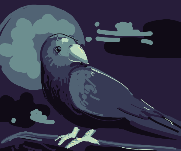 A crow/raven perched in the moonlight