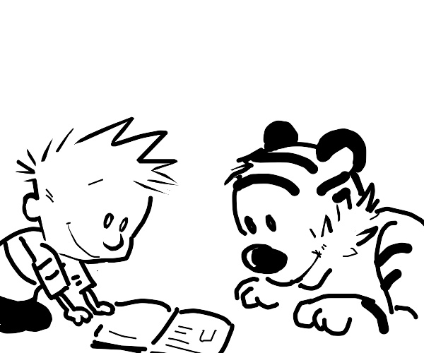 Calvin And Hobbes Read A Book Together