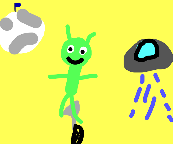 Alien on a unicycle
