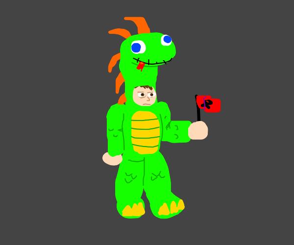 man in dinosaur suit