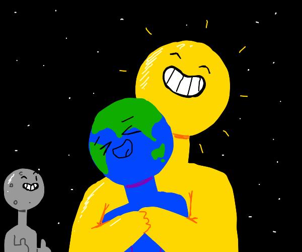 sun earth moon in space
