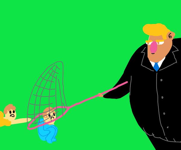 Trump tries to catch kids in net :/