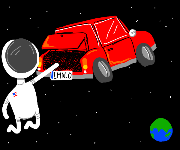 A man opens his cars trunk, in space?