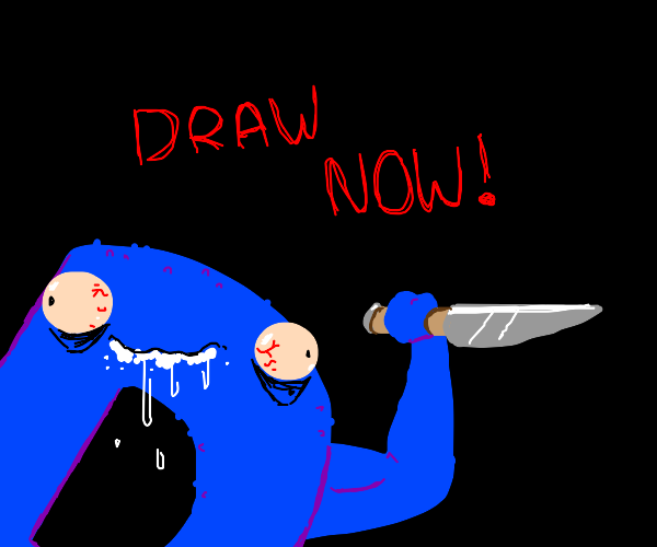 cracked-out Drawception threatens you to draw