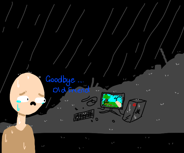 man saying bye to his pc/ minecraft