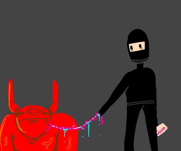Robber holds demon on a bubblegum leash