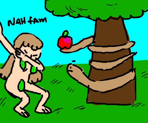 eve dabbing at snake offering forbidden fruit