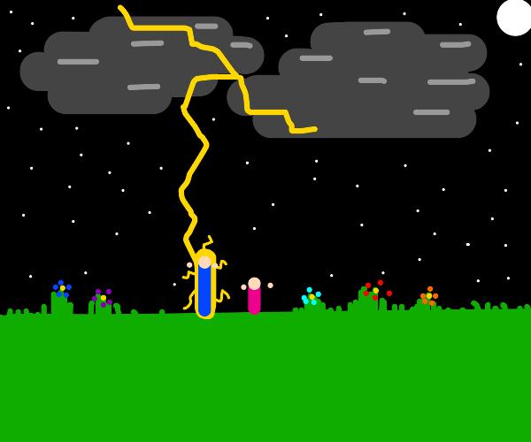 Lightning striking a man