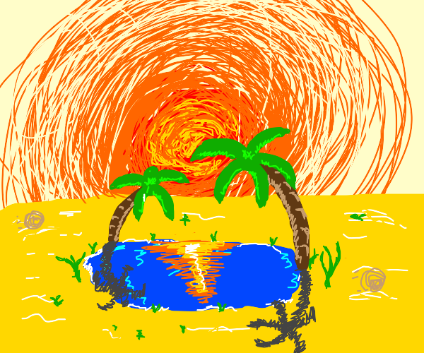 Oasis, palm tree, water & yellow ground, sun