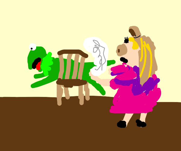 Miss Piggy pulls out Kermit's stuffing
