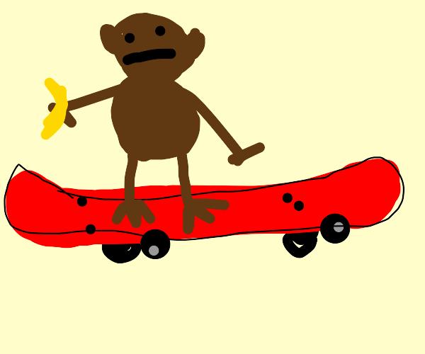 Monkey riding emotionless on a skate board