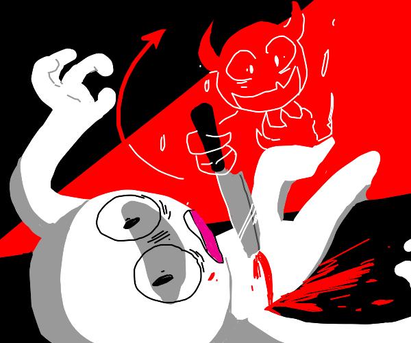 Devil killing a man