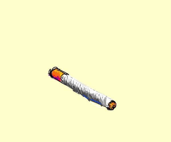 a lit cigar