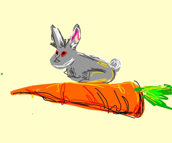 Rabbit sitting on giant carrot