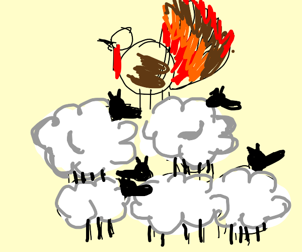 pyramid of sheep with a turkey on top