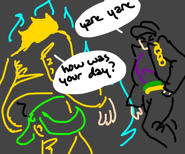 Dio asking jojo about his day