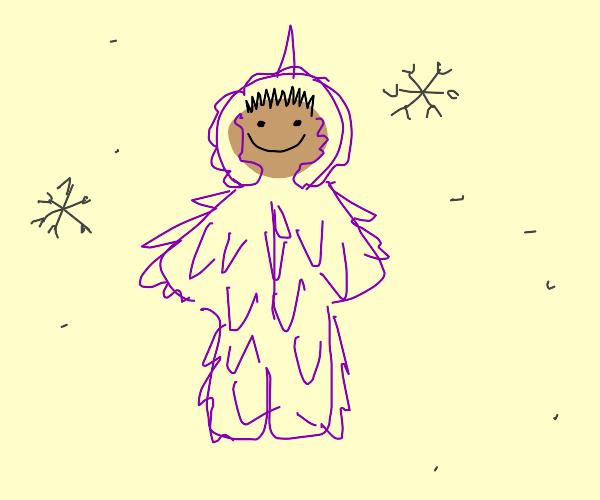 Kid in a purple spiky snowsuit