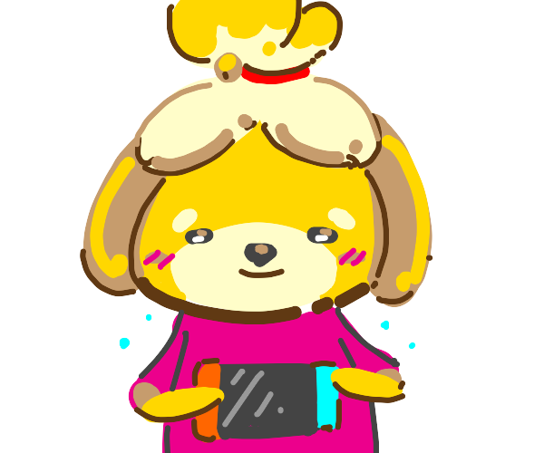 Isabelle (AC) plays the nintendo switch