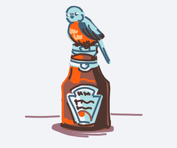 Bird chilling on a ketchup bottle