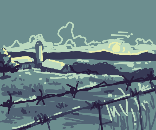a farm viewed through a barbed wire fence