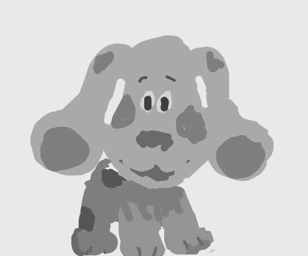 Blues clues but he is grey with green spots
