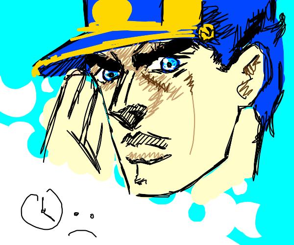 Jotaro has ear on hand