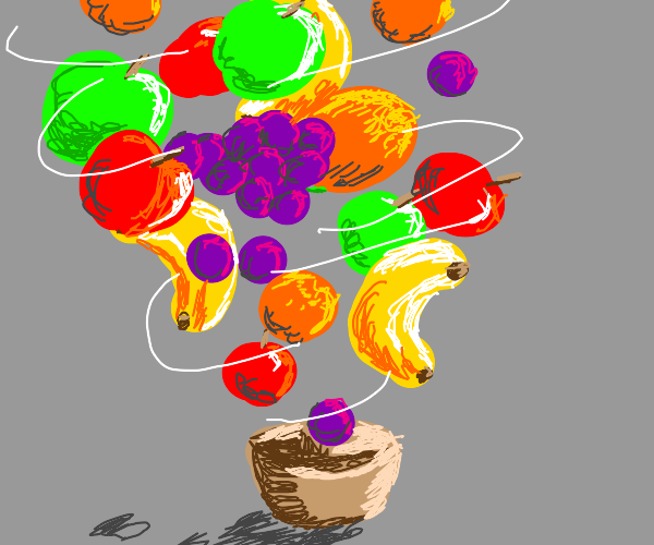 Tornado of fruit whirling from bowl