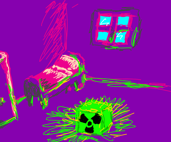 Purple bedroom with radioactive cube