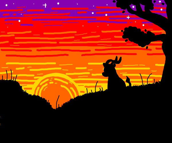 Antelope watches the sun set