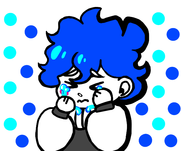 sad blue hair boy