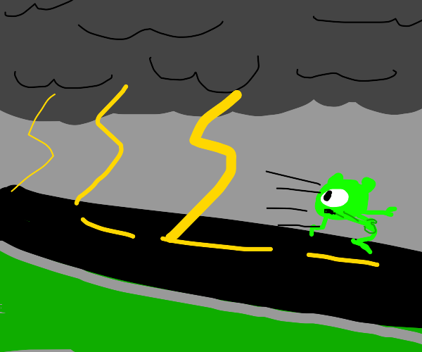Mike Wazowski running from lightning