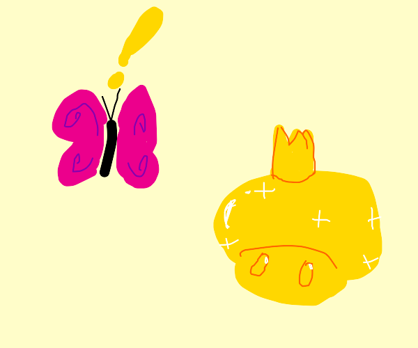 Butterfly finds golden mushroom