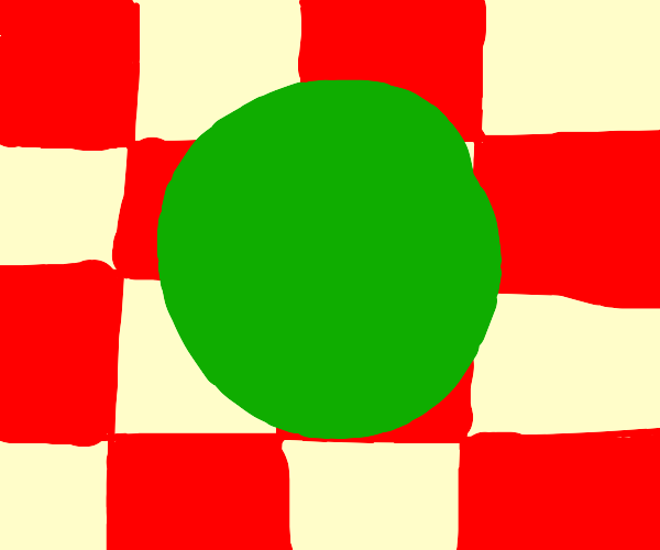 red grid and green circle