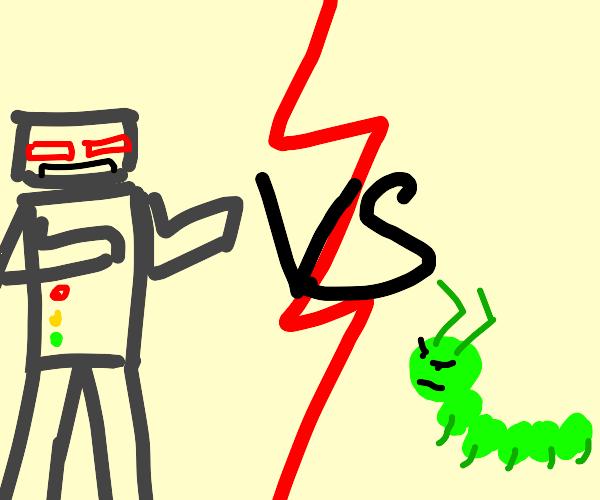 Robot fights a caterpillar