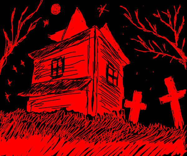 red and black scary place