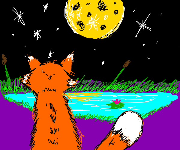 a fox at night next to a lilypad pond