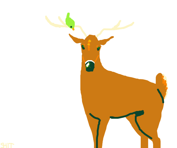Reindeer with a Bird on its Antlers