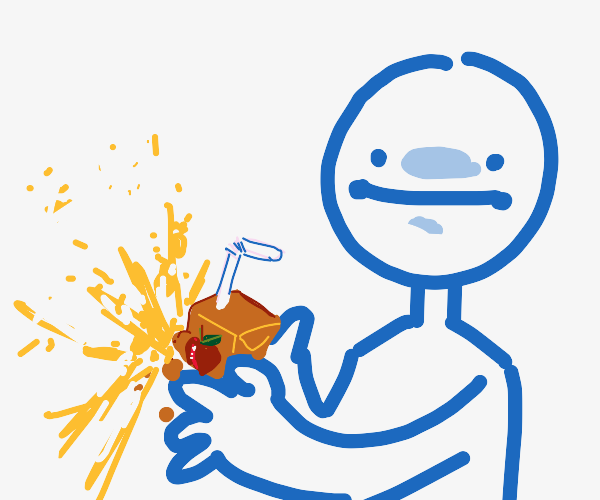Holding exploding juice box