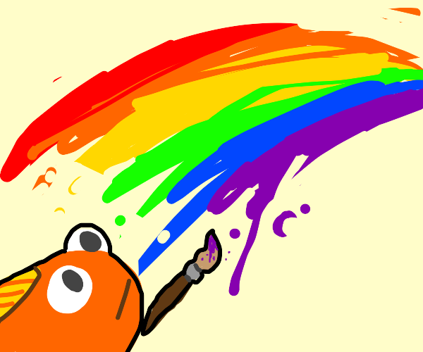 goldfish paints rainbow