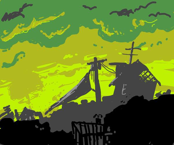 Radiation cloud above village