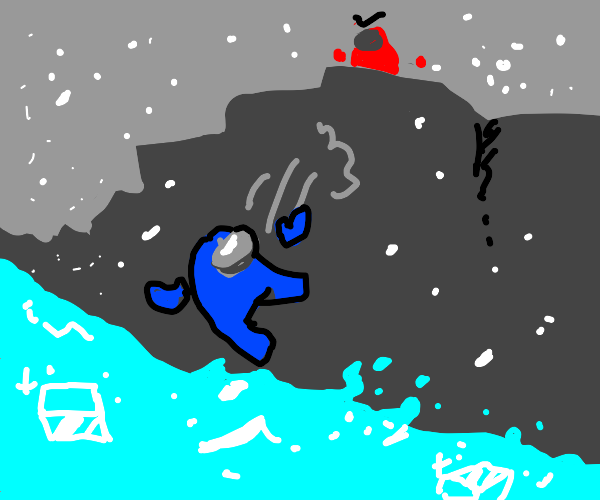 Blue crewmate falls in ice water