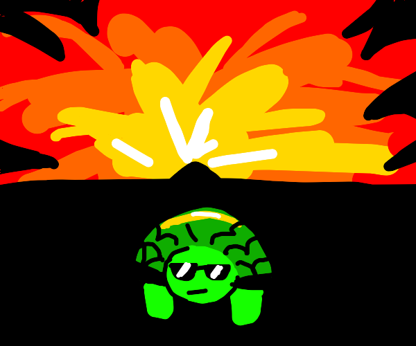 Cool turtle walks away from an explosion