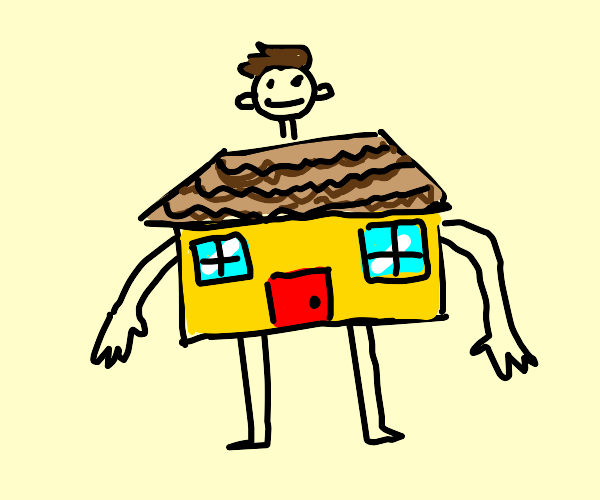 man with house for chest