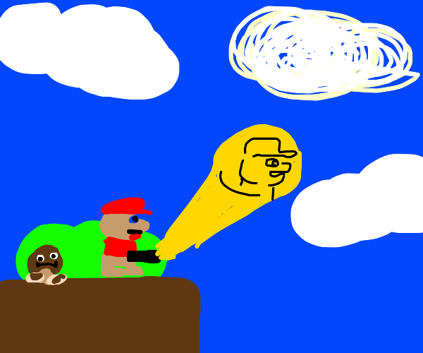 Mario signalling the pee singal